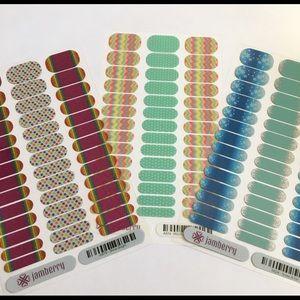 Jamberry Junior Kids Nail Wrap Bundle Lot Rainbow